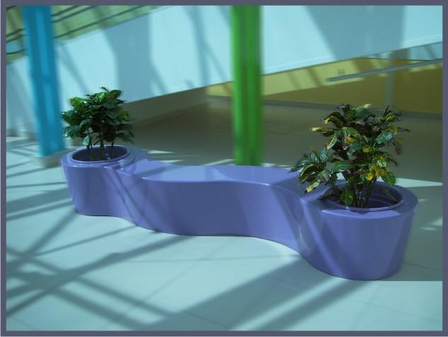 Скамья с цветочницей, оформление интерьера